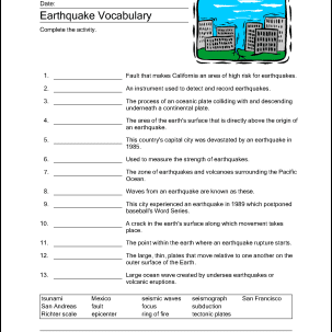 Earthquake Printables Word Search