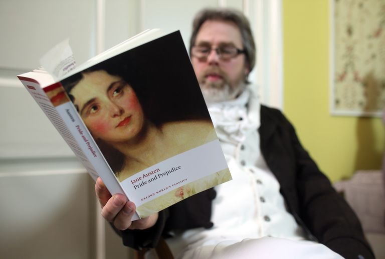Man reading Pride and Prejudice
