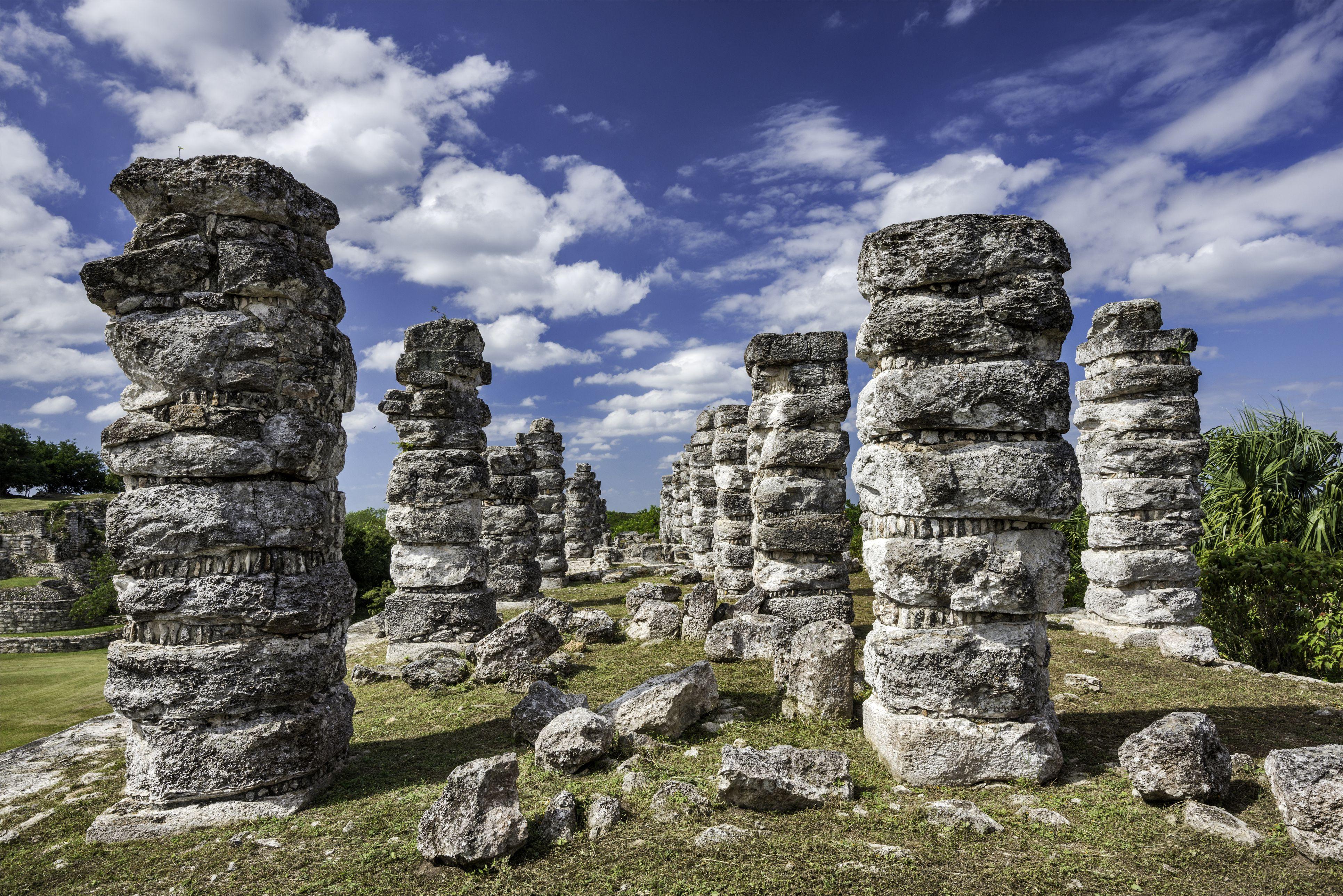 Pillars at Maya ruins at Ake, Yucatan, Mexico