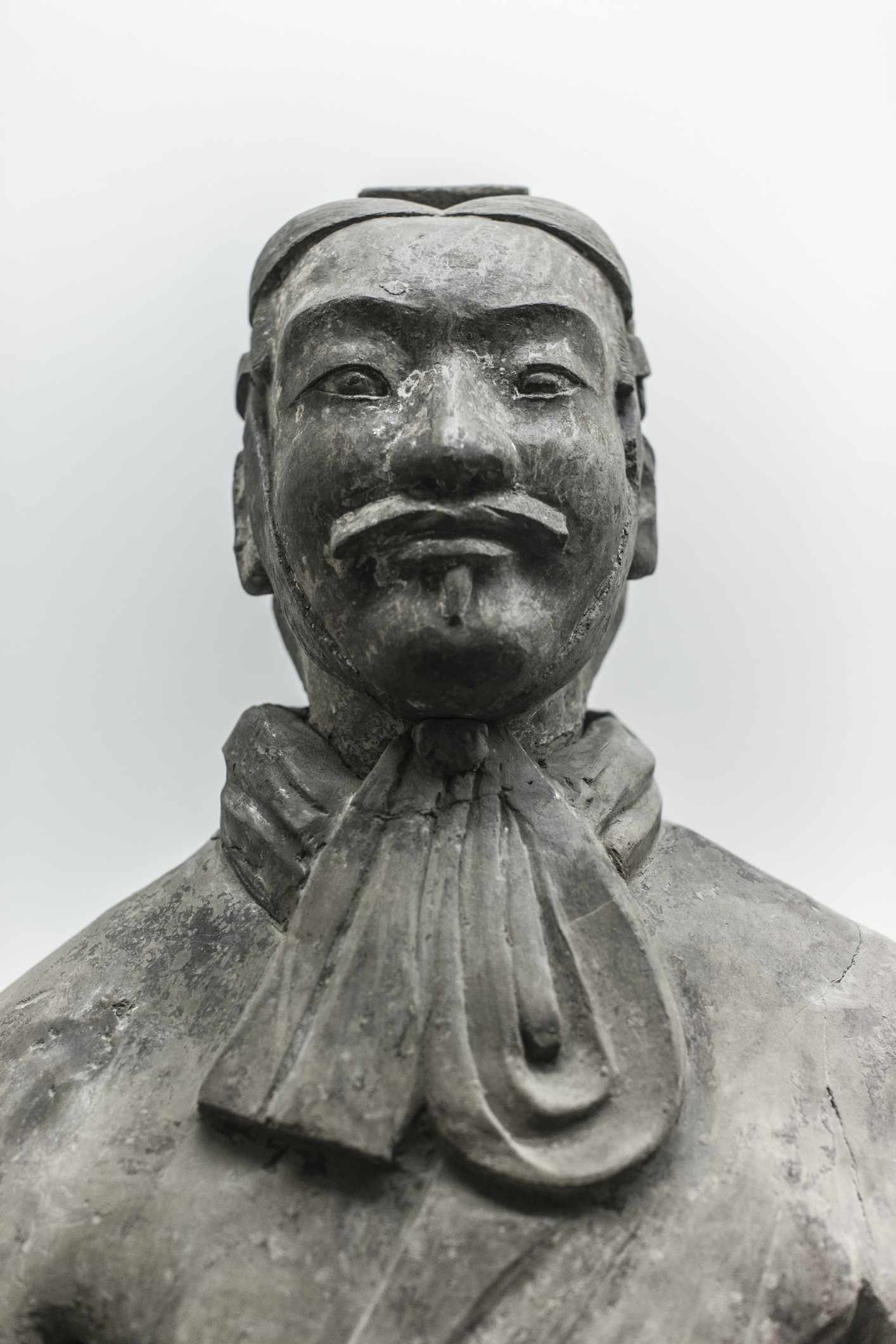 Close up of a terracotta warrior's head