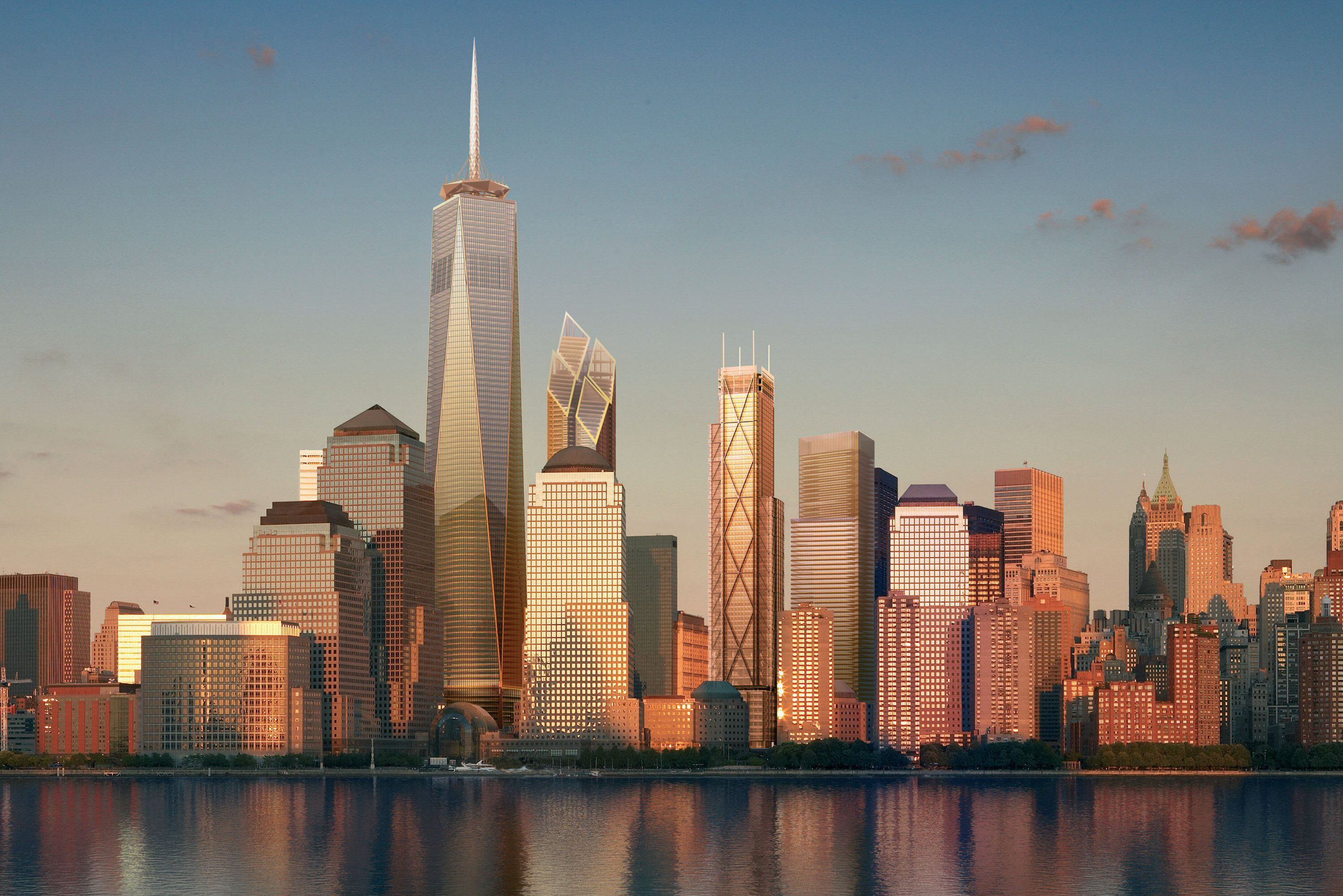rendering of NYC skyline with new skyscrapers in Lower Manhattan