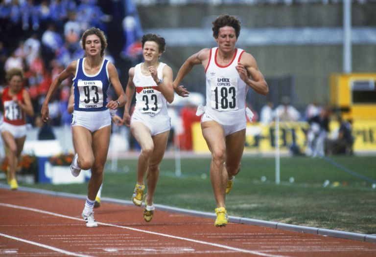 Jarmila Kratochvilova #183 of Czechoslovakia heads towards the finishing line in the 800 metres during the 1983 Europa Cup Final