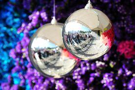 Silver ornaments near a tree