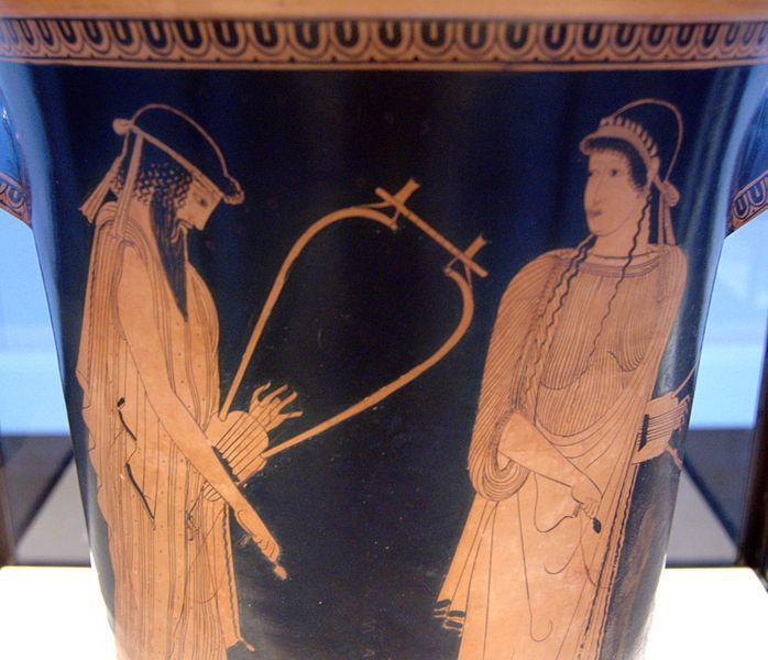 Alcaeus and Sappho, Attic red-figure kalathos, c. 470 B.C., Staatliche Antikensammlungen