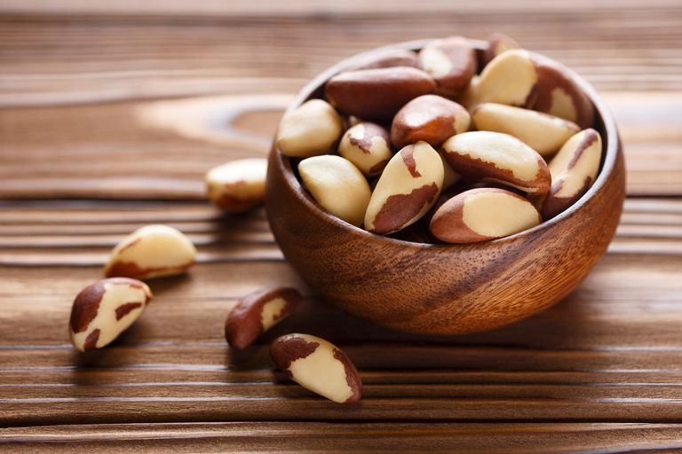 Brazil nuts in a wooden bowl