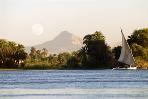 A view of the Nile and west river bank, Luxor