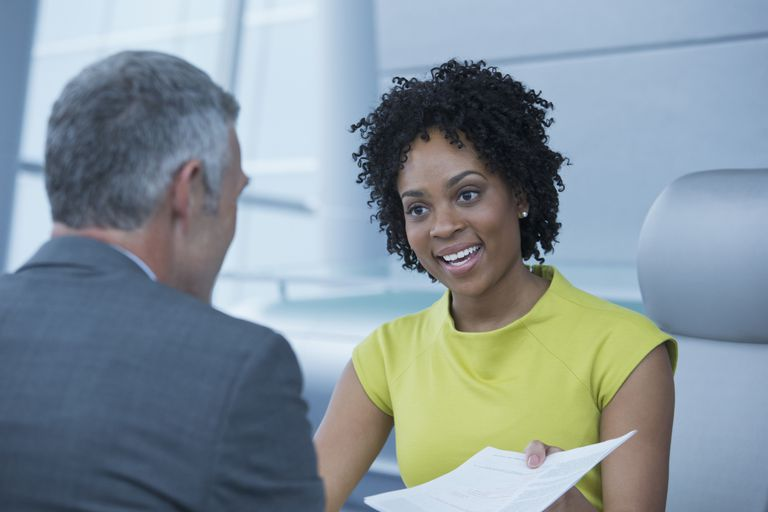 Job interview blck woman and older white man