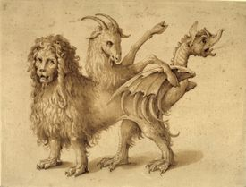 Pencil sketch of a chimera made of multiple animals, artist rendering.