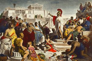 Depiction of Pericles giving a speech in ancient Greece.
