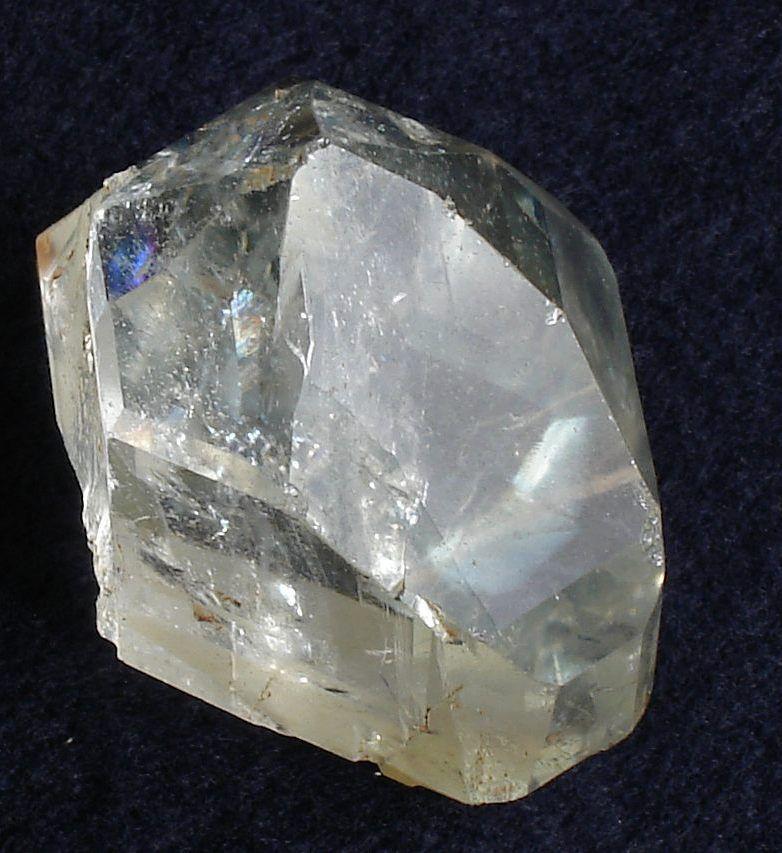 Crystal of colorless topaz from Pedra Azul, Minas Gerais, Brazil.