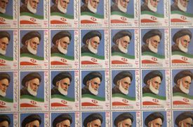 Stamps of the late Iranian supreme leader Ayatollah Khomeini