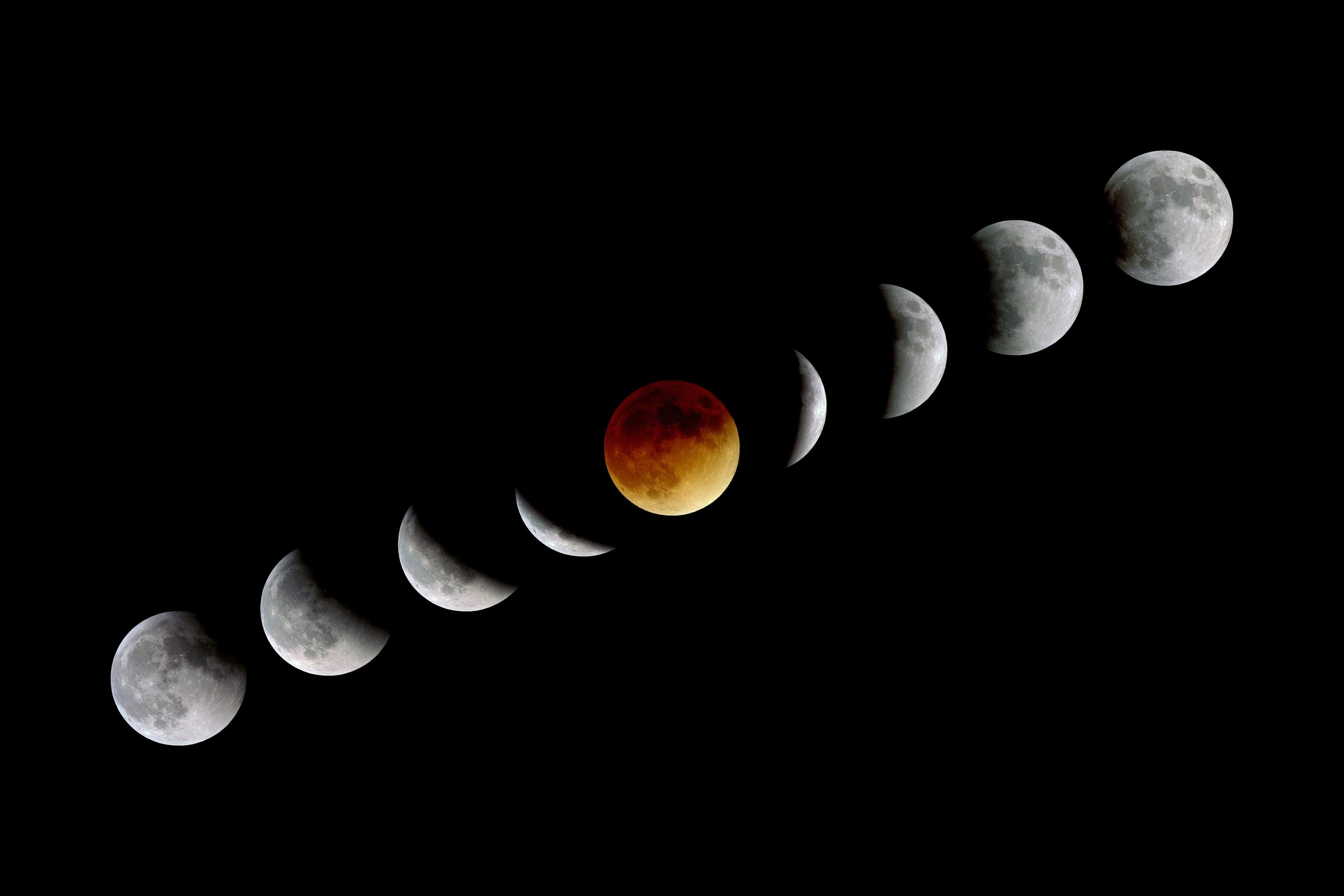 """The moon appears most red or """"bloody"""" at and near totality of a lunar eclipse."""
