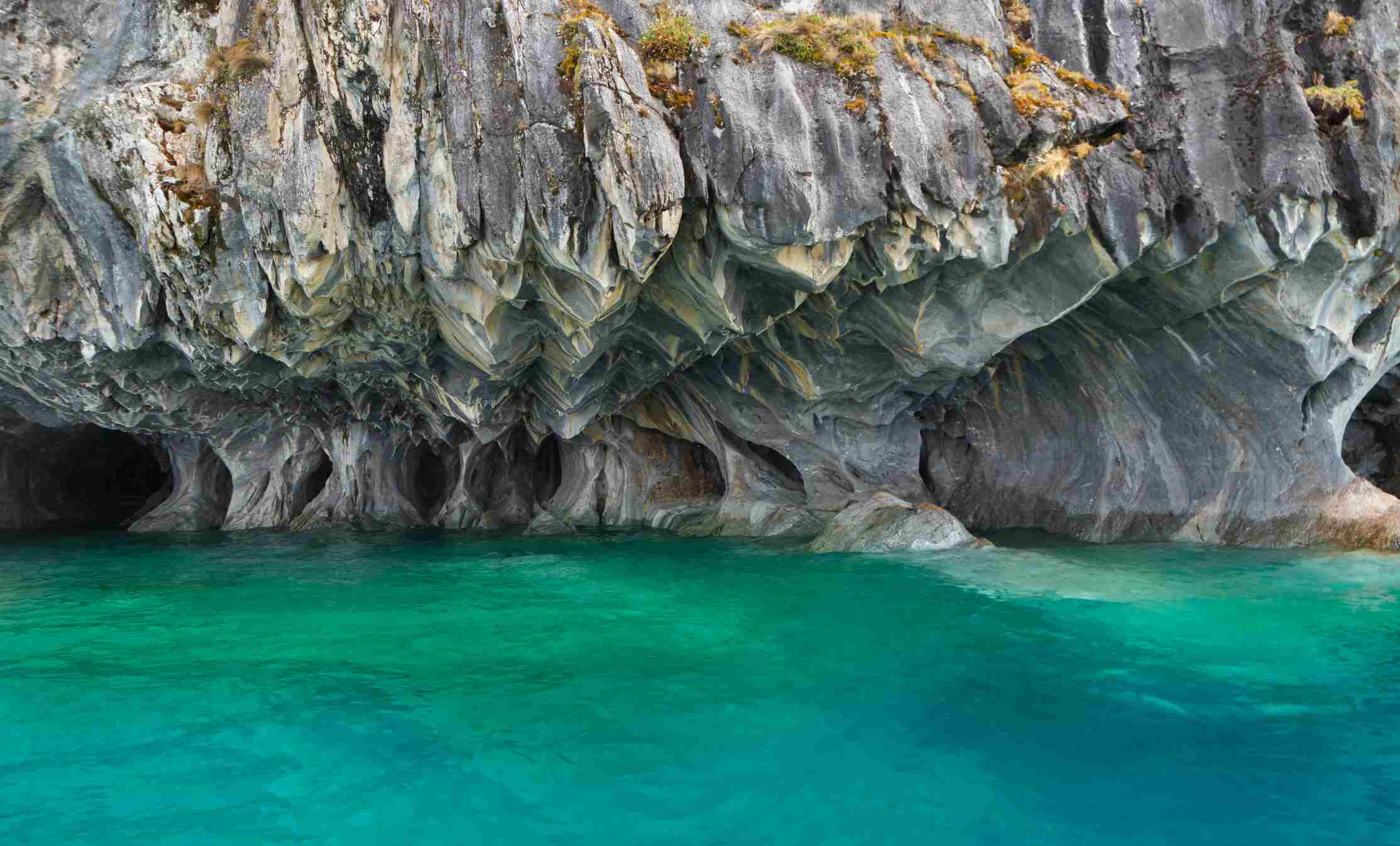 Marble caves over General Carrera Lake, Puerto Tranquilo, Chile.