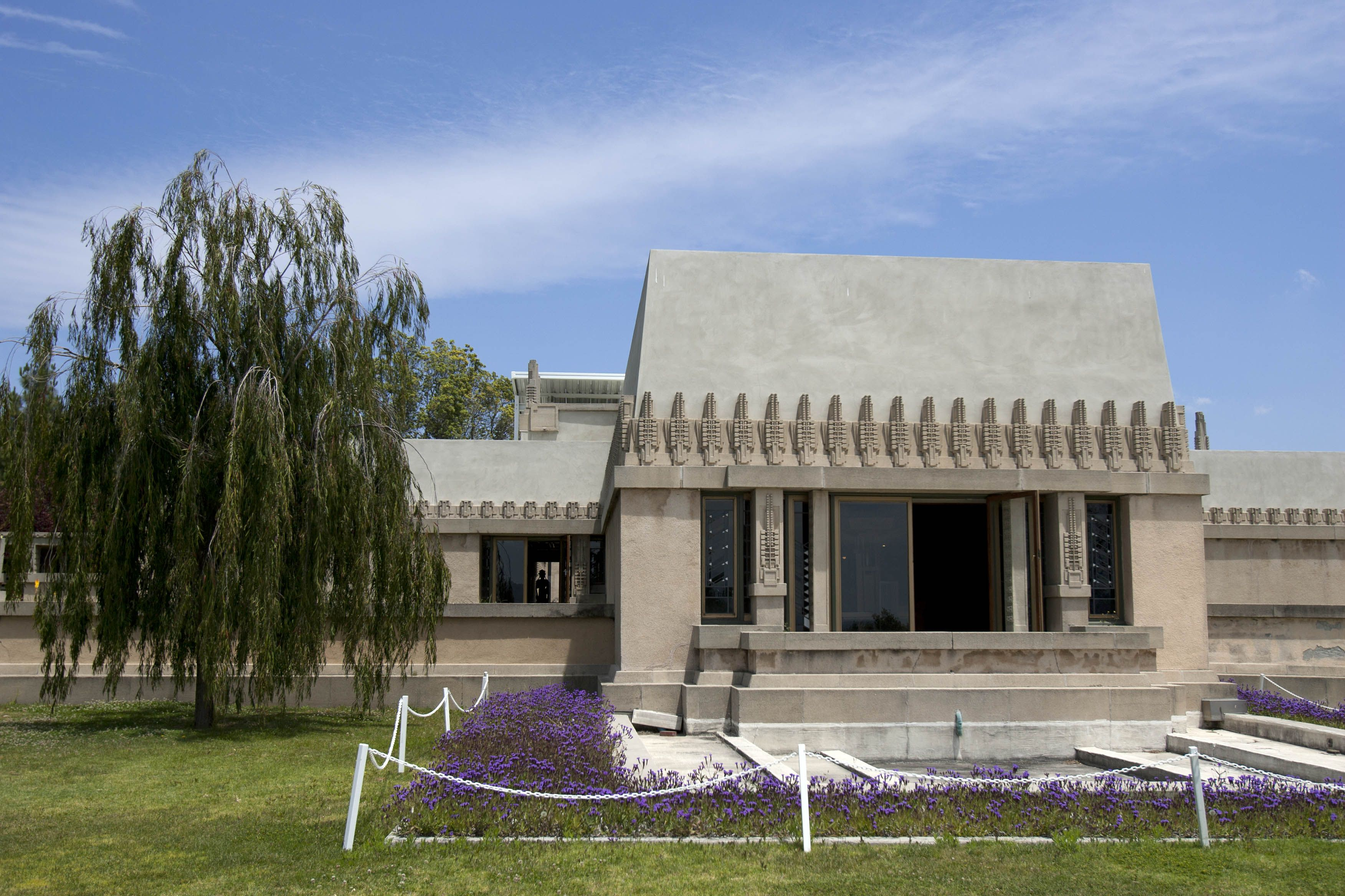 The 1921 Hollyhock House exterior, designed by Frank Lloyd Wright