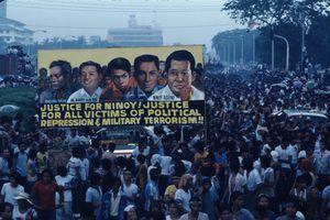 Filipino students protest the assassination of Benigno Aquino