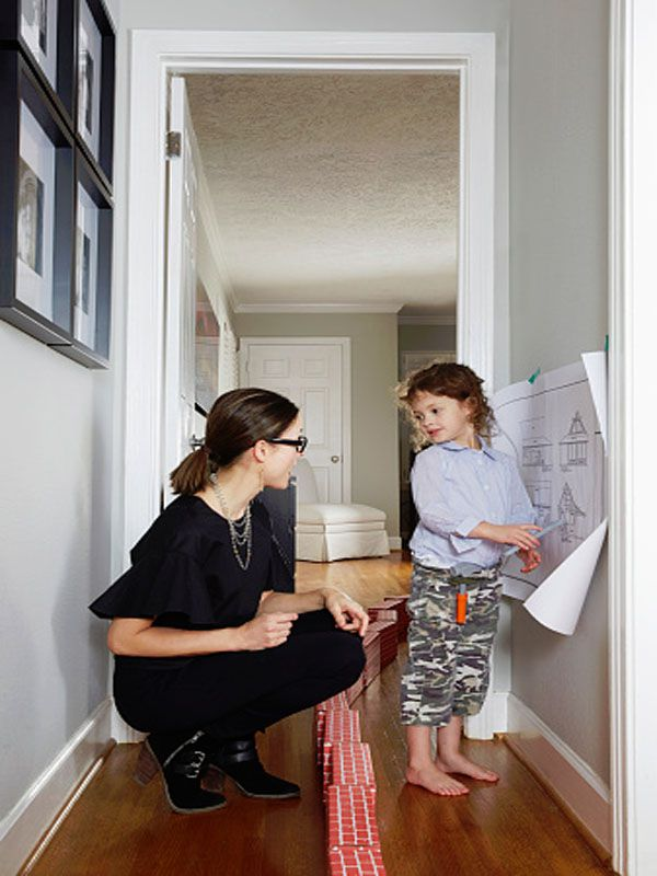 Mother and child showing drawing of love