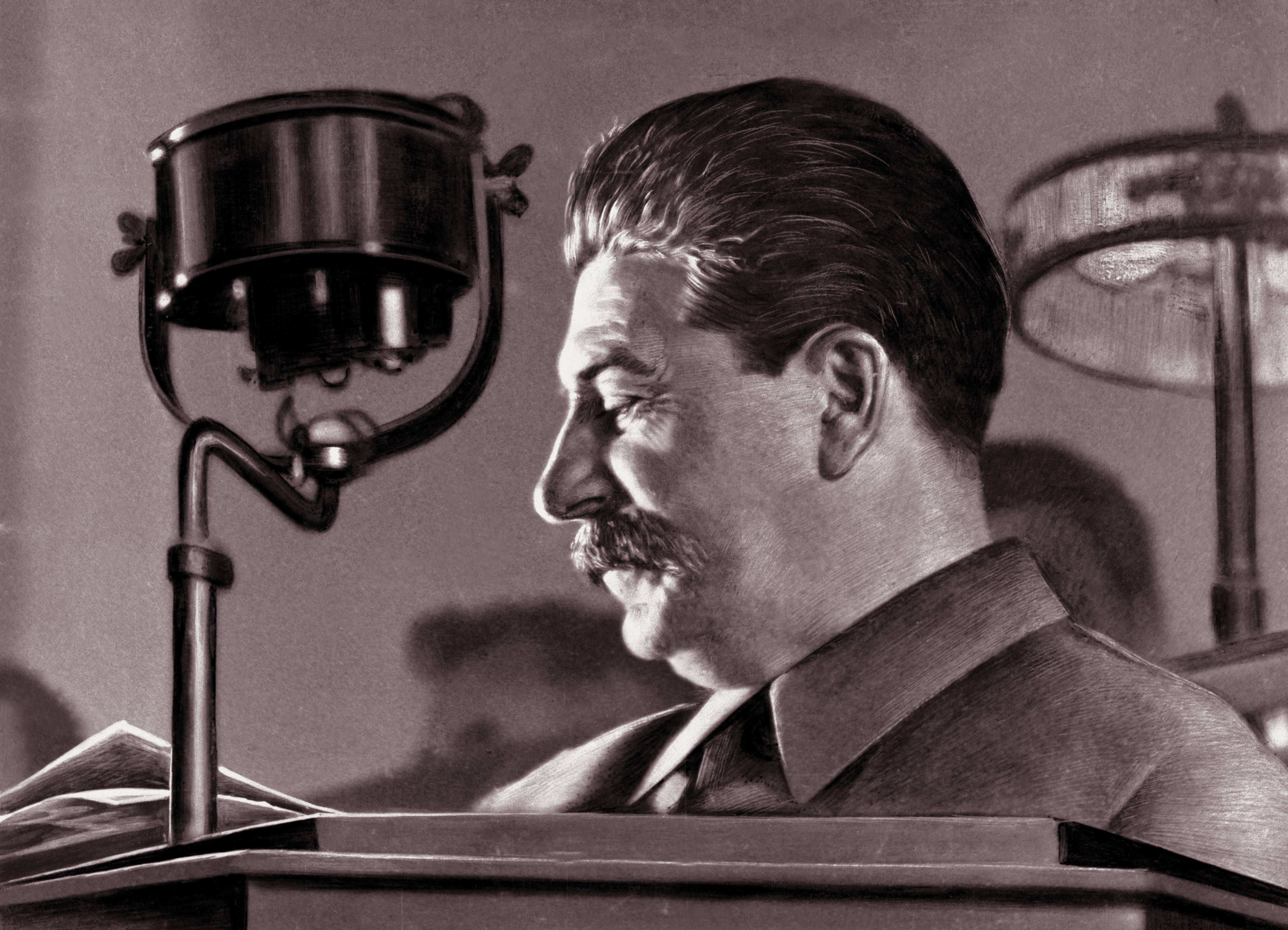 Dawing of Stalin at a desk in Moscow
