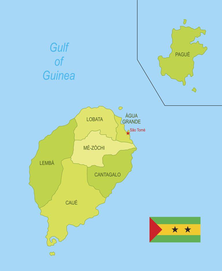 Flat map of São Tomé and Príncipe with flag