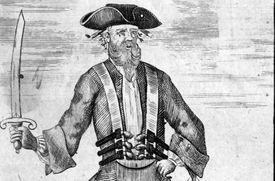 Blackbeard, as pictured by Benjamin Cole in the second edition of Charles Johnson's General Historie