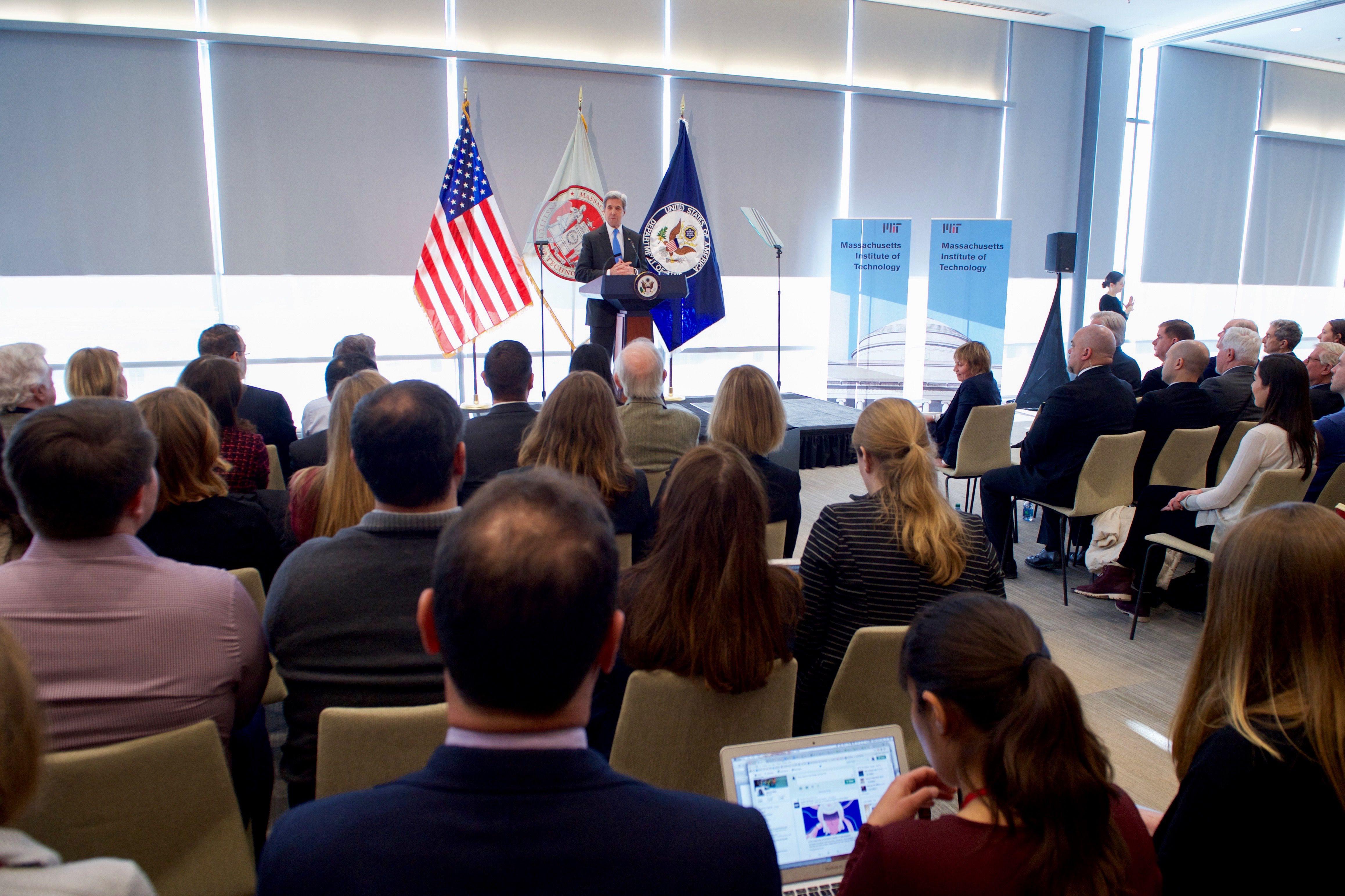 U.S. Secretary of State John Kerry at the Massachusetts Institute of Technology Sloan School of Management in Cambridge, Massachusetts