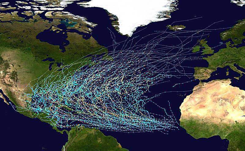 tracks of Atlantic tropical cyclones 1980-2005