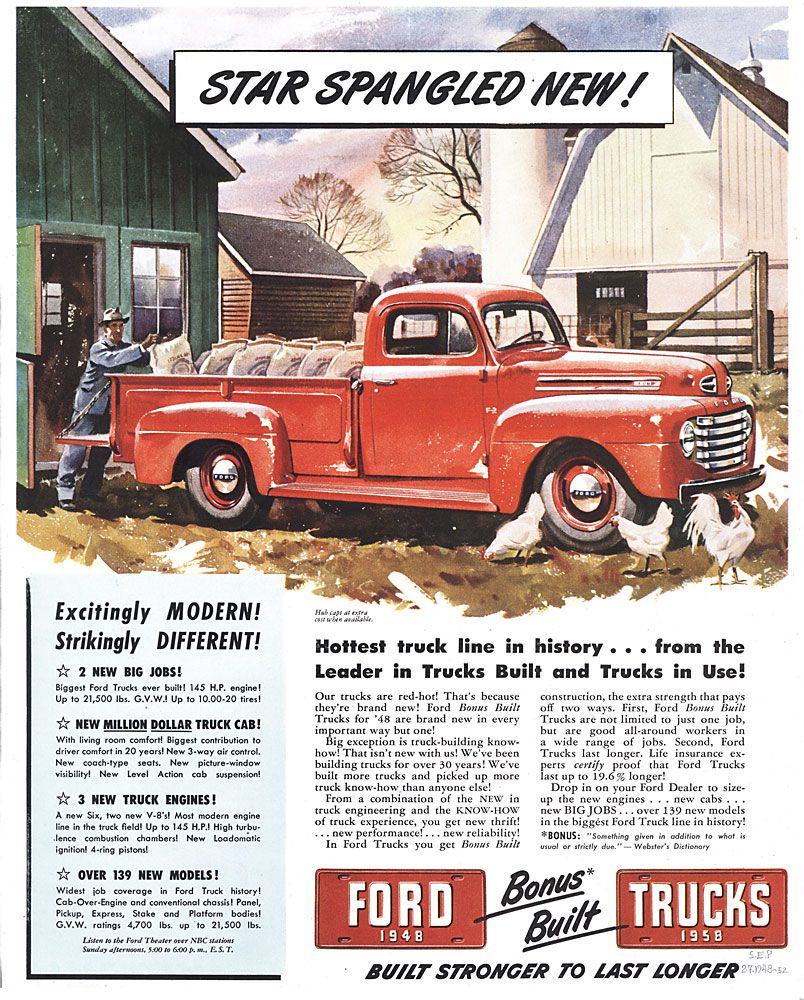 Classic Ford Trucks Featured In Vintage Ads 1948 Pickup Truck