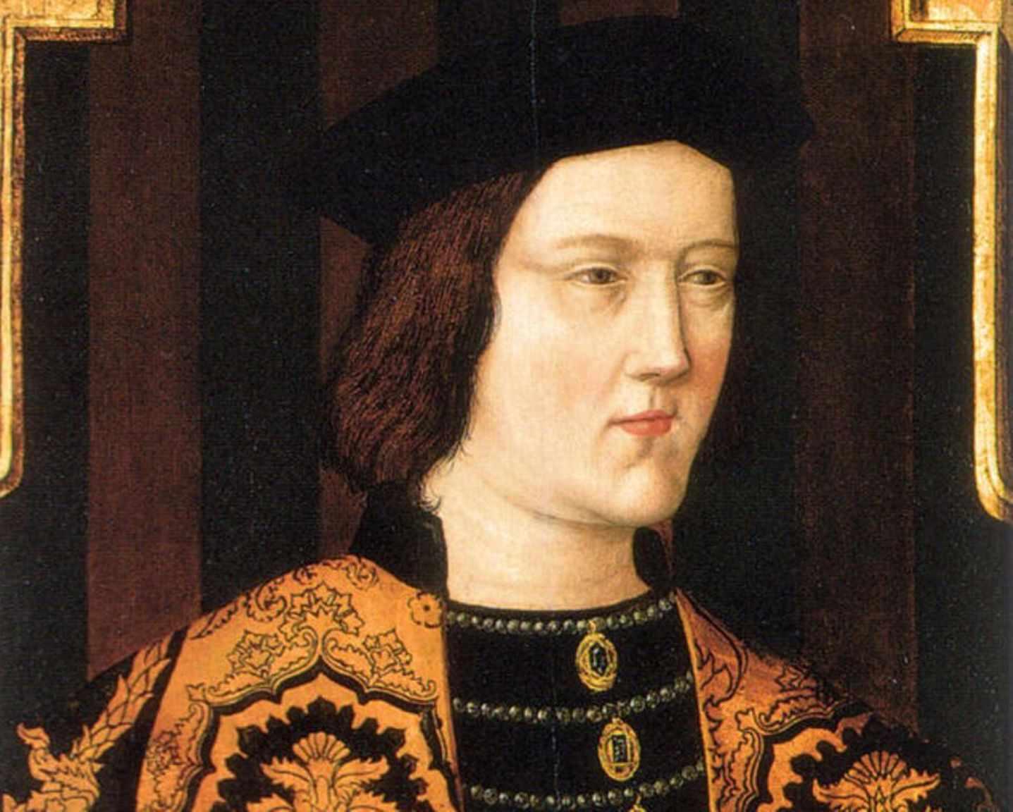 Portrait of King Edward IV in orange robes and a black hat.