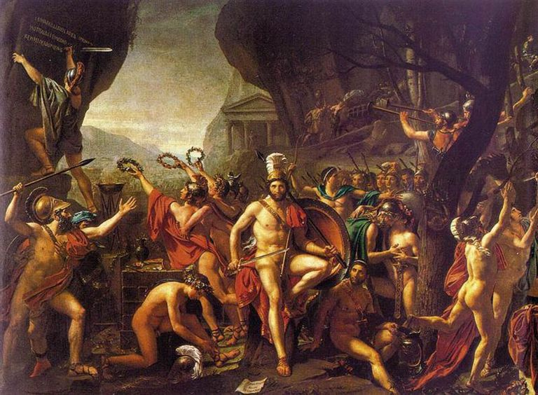 Battle of Thermopylae, Painted by Jacques Louis David in 1814. At the Louvre.