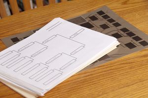 Family tree and Diagram laying on a table