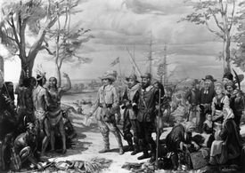 Painting of Native Americans Greeting Swedish Settlers by Christian Von Schneidau