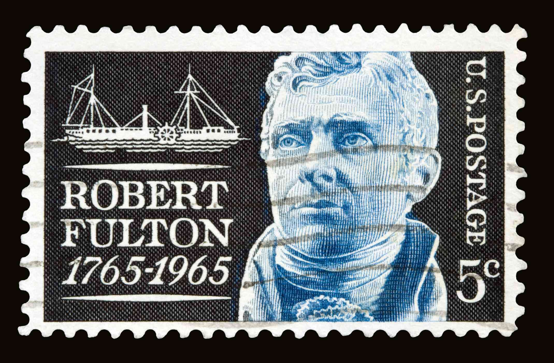 A 1965 issued 5 cent United States postage stamp showing American engineer Robert Fulton