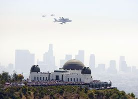 Griffith Observatory and space shuttle Endeavour.