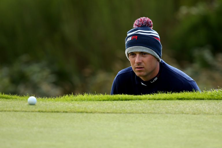 Justin Spieth's golf ball is on the fringe of the putting green during the 2014 Ryder Cup