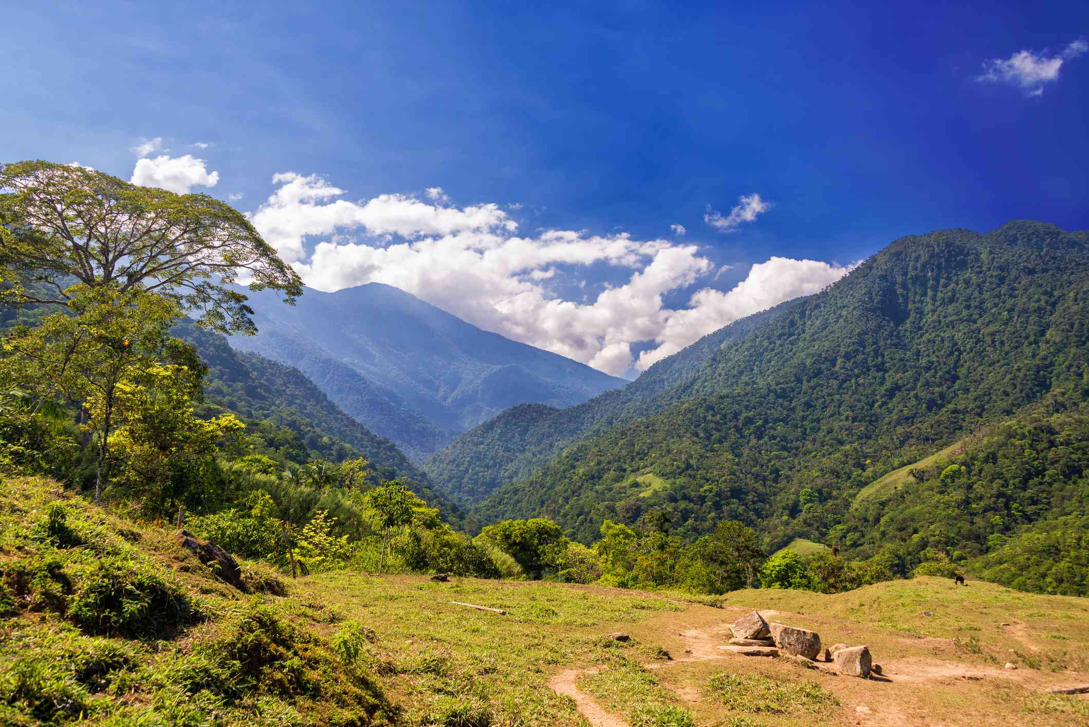 Scenic View Of Mountains Against Sky At Sierra Nevada De Santa Marta