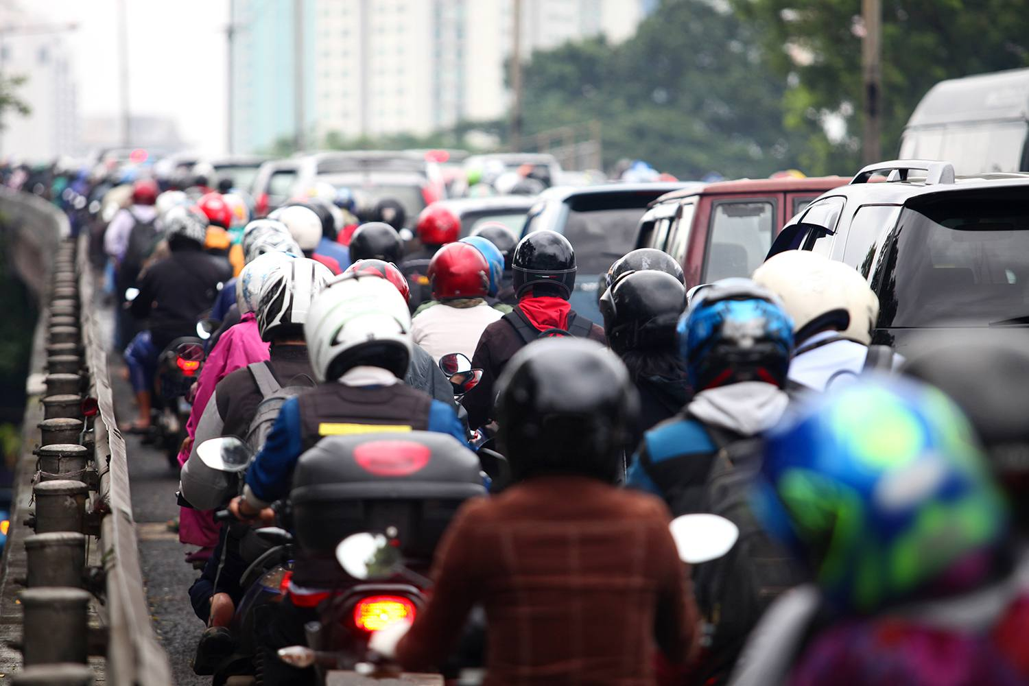 Crowded Street In Indonesia