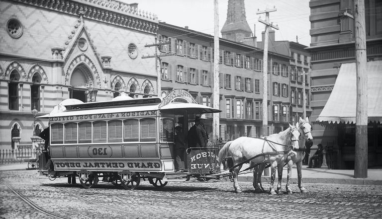 Horse-Drawn Streetcar in New York City