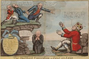 Political cartoon mocking the Hartford Convention of 1814-1815.