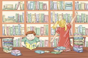 Cartoon Children In The Library