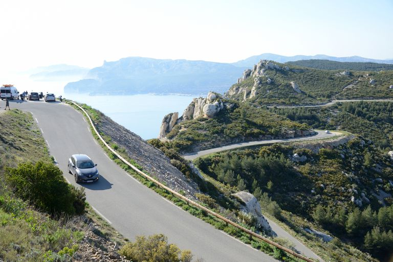 Motorist & Car on the Route des Crêtes Coast Road Provence France