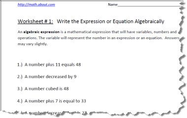 Pre Algebra Worksheets for Writing Expressions