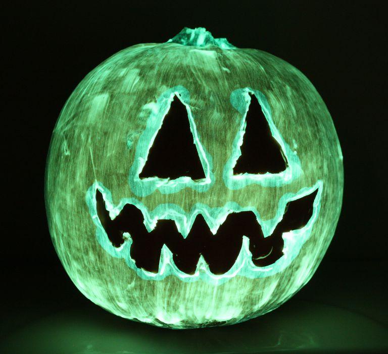 This spooky Halloween pumpkin glows in the dark.