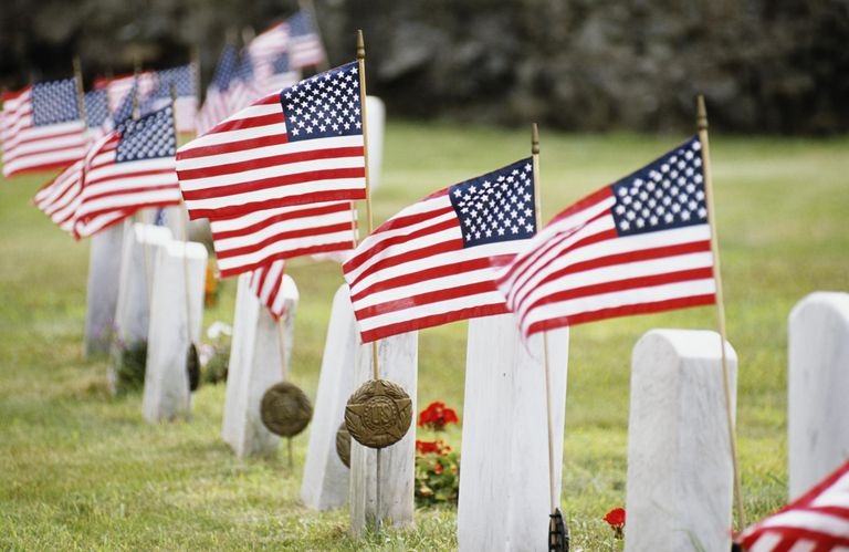 American flags on veterans graves