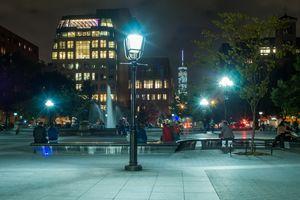 Washington Square Park at night