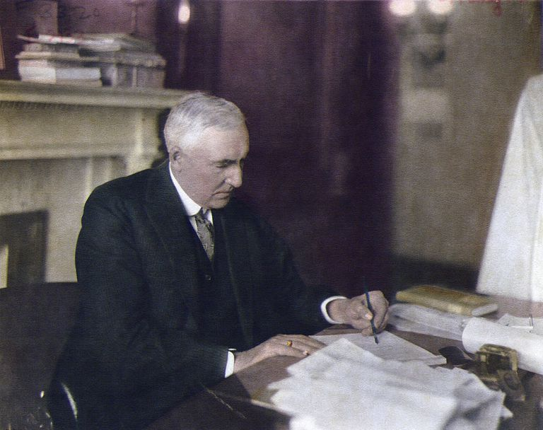 President Warren G. Harding At Desk