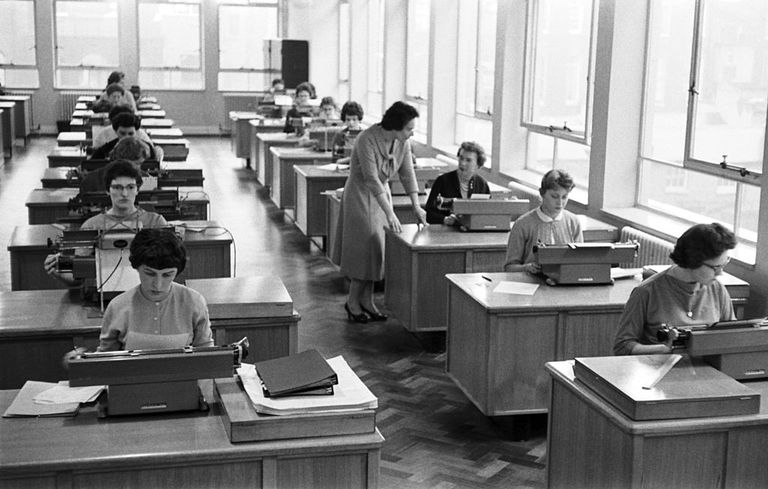 The typing pool at the offices of the retailer Marks and Spencer, Baker Street, London, 7th April 1959.