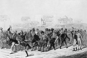 A political cartoon depicting the candidates in the 1824 election