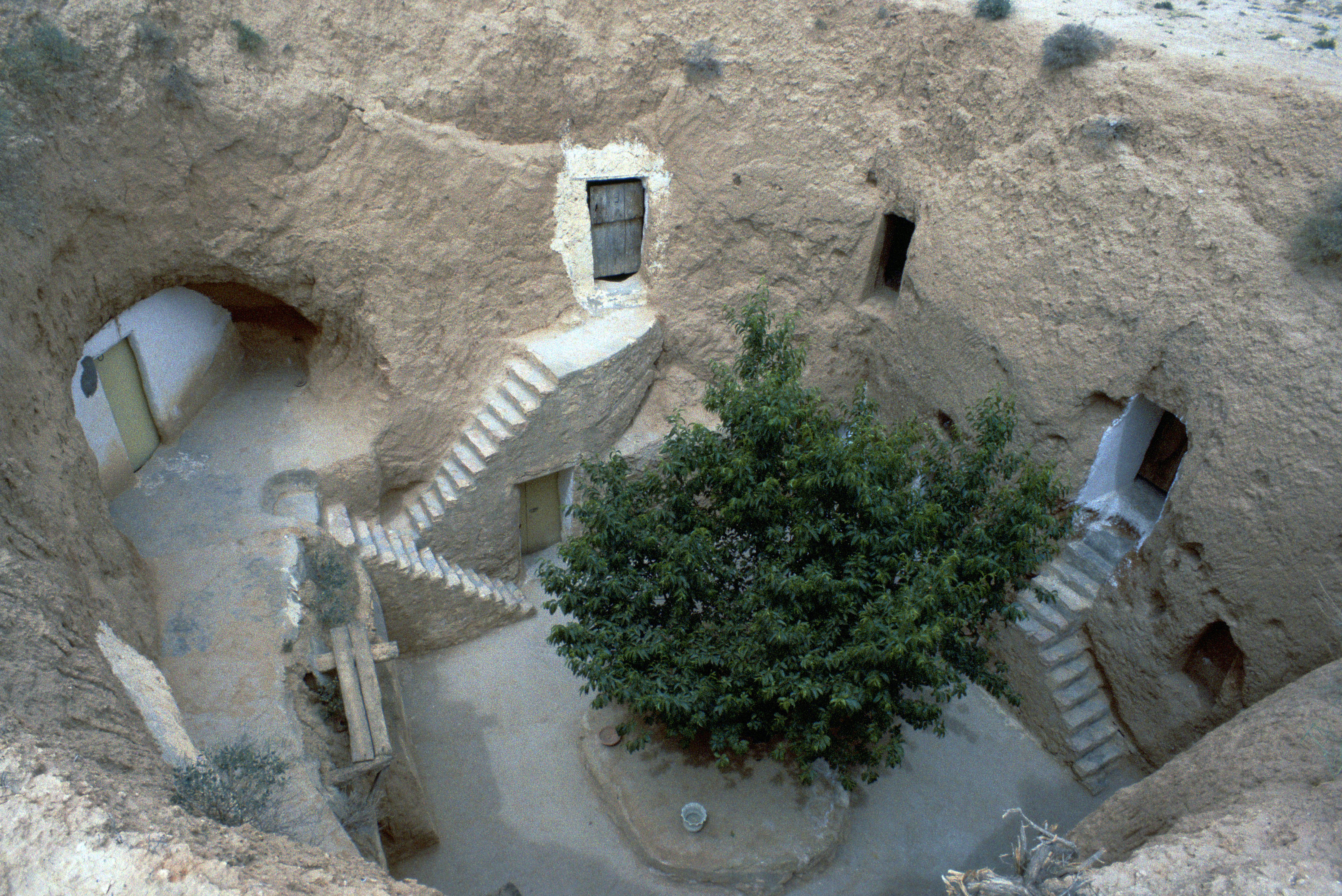 stairways, doors, and windows provide access to living spaces carved into the earth - a tree is in the center of the open pit community