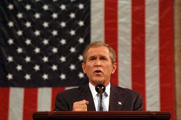 President George W. Bush addresses a joint session of Congress on September 20, 2001