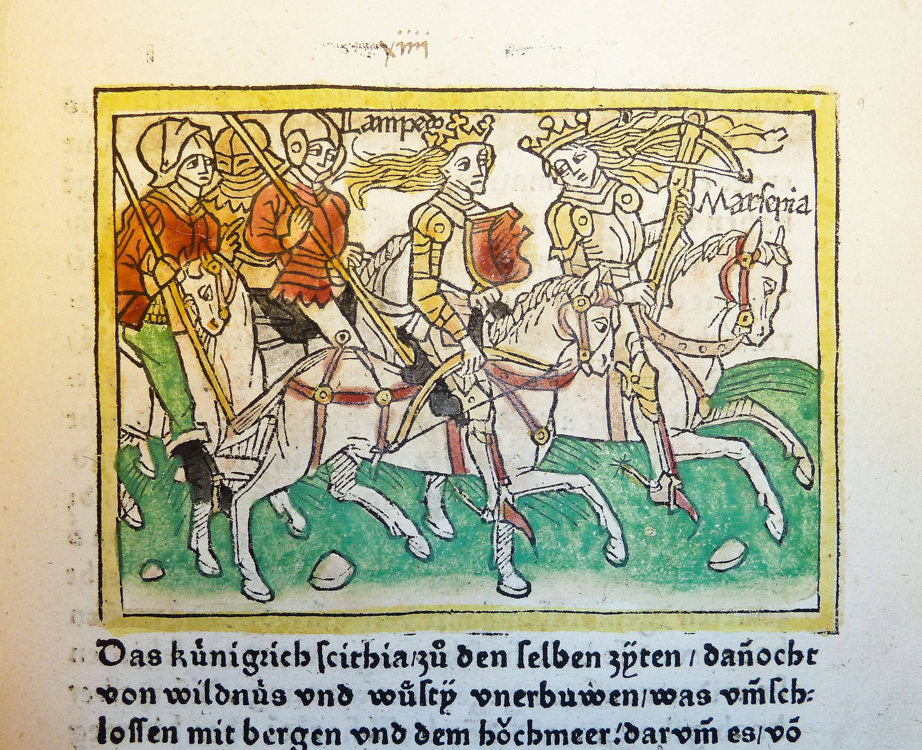 Lampedo and Marpesia march into battle, medieval-style
