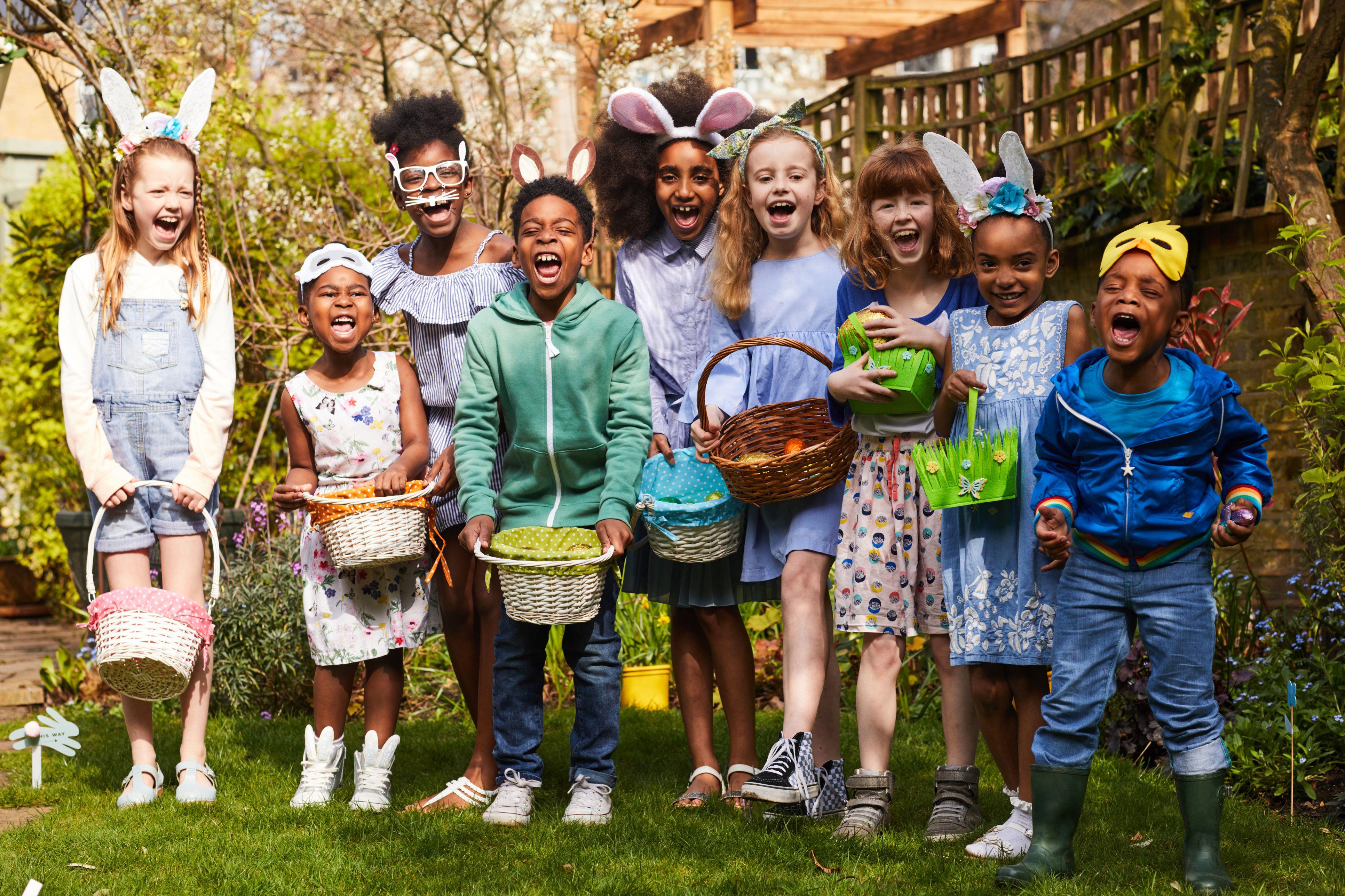 Group of children having fun on an Easter Egg Hunt.